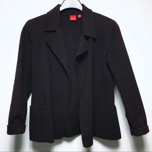 ANNE KLEIN Plum Brown Open Wool Coat Jacket XS